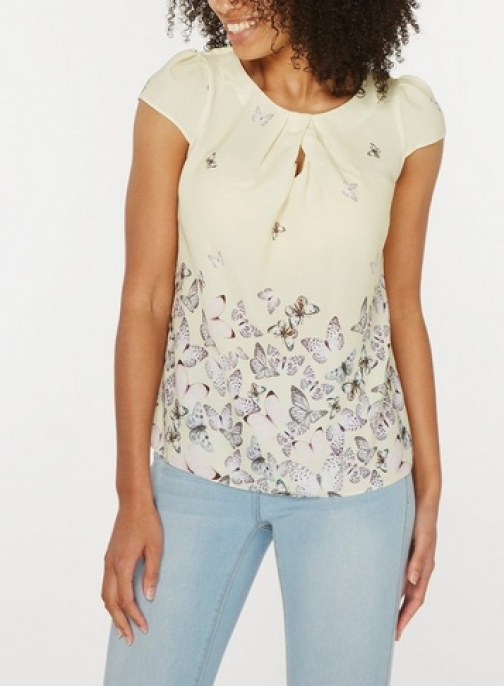 Dorothy Perkins Womens **Billie & Blossom Yellow Butterfly Shell - Yellow, Yellow Top