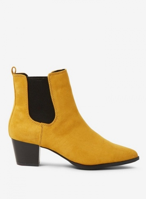 Dorothy Perkins Womens Wide Fit Yellow Microfibre 'Mayfair' Casual - Yellow, Yellow Ankle Boot