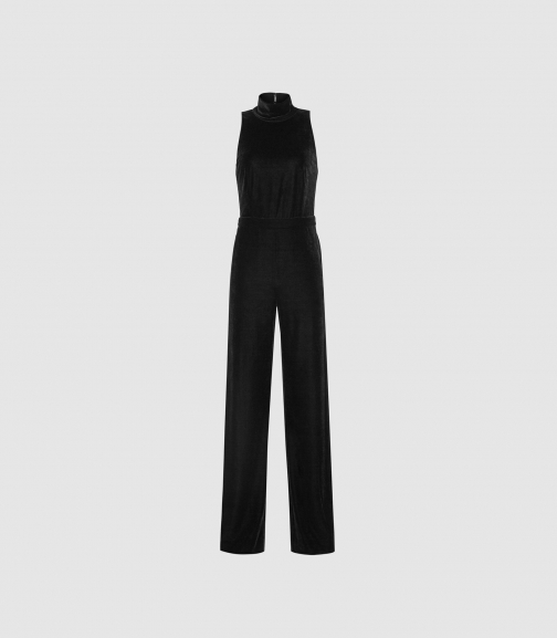 Reiss Dori - Velvet Open Back Black, Womens, Size 4 Jumpsuit