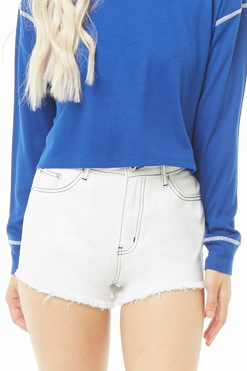 Forever21 Forever 21 Topstitched , Ivory/navy Denim Short