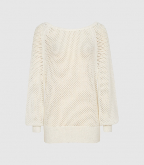 Reiss Laurie - Open-knit White, Womens, Size XS Jumper