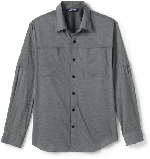 Lands' End Men's Traditional Fit Roll Sleeve Outrigger Hiking - Lands' End - Gray - S Shirt