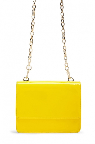 Forever21 Forever 21 Faux Patent Leather Crossbody , Yellow Crossbody Bag