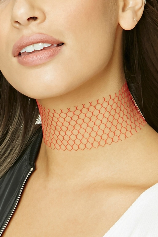 Forever21 Forever 21 Fishnet , Red Chokers