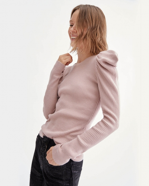7 For All Mankind Long Sleeve Puff Shoulder Crewneck Smokey Rose Shirt