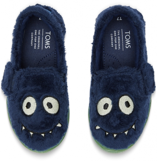 Toms Navy Glow The Dark Fuzzy Monster Tiny TOMS Luca Slip-Ons Shoes