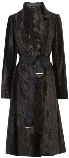 Karen Millen Leopard Tailored Wrap Coat Jacket