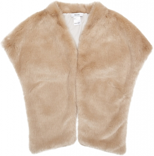 Reiss Ethel - Faux Fur Stole Oatmeal, Womens Scarf