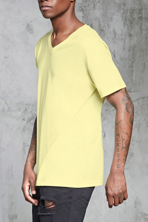 21 Men Cotton V-Neck Tee At Forever 21 , Yellow T-Shirt