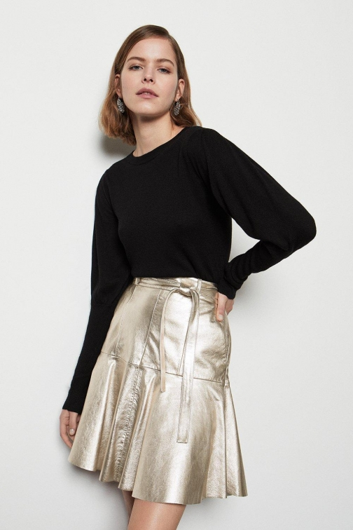 Karen Millen Metallic Leather Flippy Metal, Metal Skirt