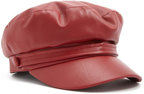 Forever21 Forever 21 Faux Leather Cabby Red Hat