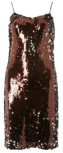 Dorothy Perkins Tall Chocolate Brown Sequin Slip Dress