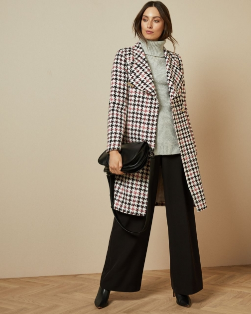 Ted Baker Houndstooth Wrap Coat Jacket