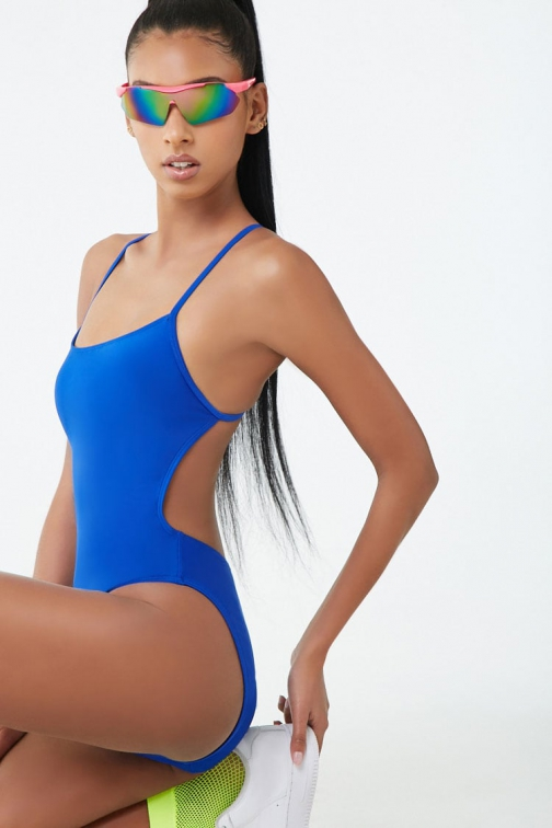 Forever21 Forever 21 Active High-Leg One-Piece Royal Swimsuit