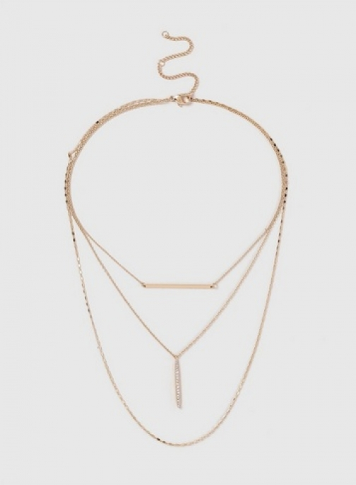 Dorothy Perkins Gold Fine Three Row Bar Necklace