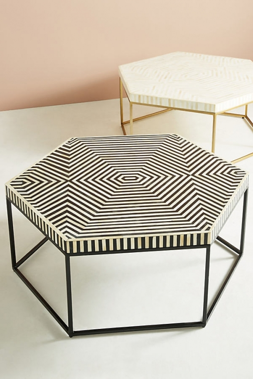 Anthropologie Hexagonal Inlay Coffee Table - Black Accessorie