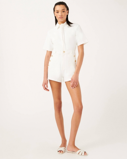 7 For All Mankind Womens Romper Broken Twill White Size: XS Jumpsuit