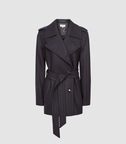 Reiss Sia - Wool Blend Peacoat Navy, Womens, Size 4 Jacket