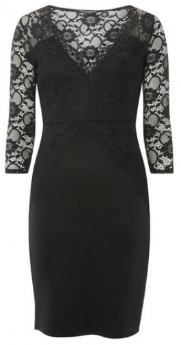 Dorothy Perkins Black Lace Top Bodycon Dress