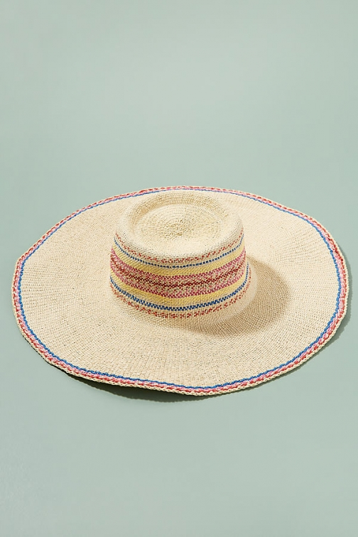 Anthropologie Embroidered-Striped Floppy Hat