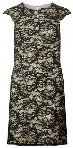 Dorothy Perkins Black And Ivory Embellished Button Lace Shift Dress