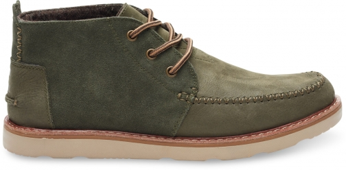 Toms Tarmac Olive Suede Full Grain Leather Men's Chukka Boot