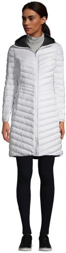 Lands' End Women's Ultralight Packable Down Coat With Hood - Lands' End - White - XS Jacket