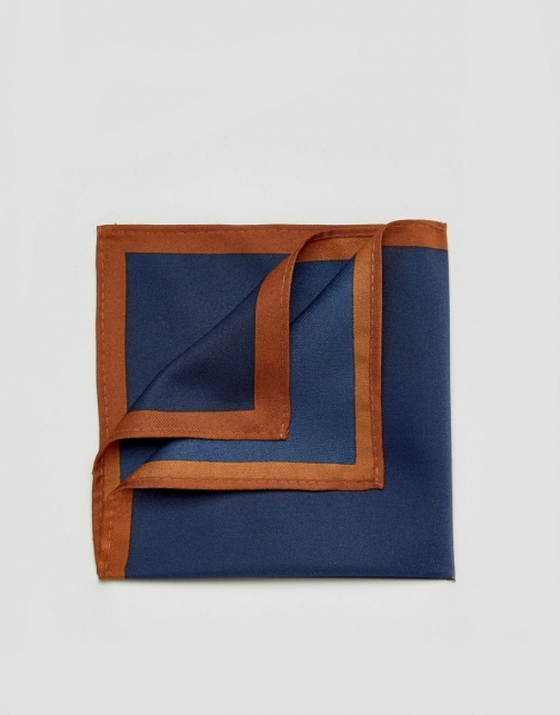 Asos Navy With Boarder Pocket Square