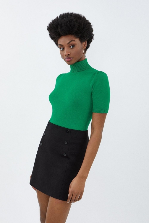 Coast Roll Neck Short Sleeved Cropped Knit Green, Green Top
