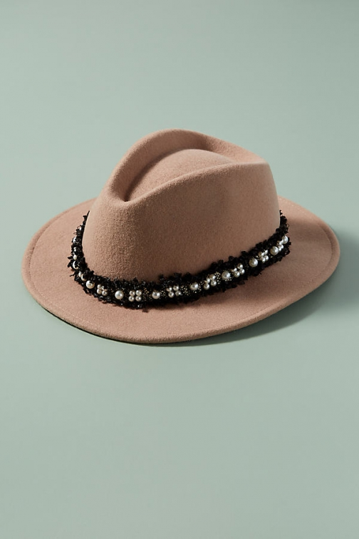 Anthropologie Faux Pearl-Embellished Fedora Hat