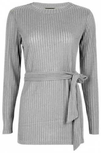 Dorothy Perkins Grey Brushed Belted Tunic Top
