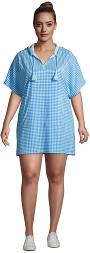 Lands' End Women's Plus Size Terry V-neck Short Sleeve Hooded Swim Cover-up Dress With Pocket - Lands' End - Blue - 1X2X Swimwear