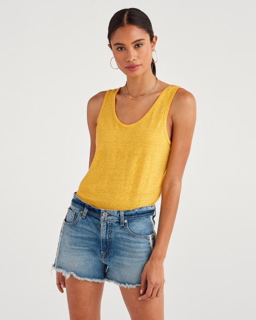 7 For All Mankind Women's Scoop Neck Tank Dandelion Tank Top