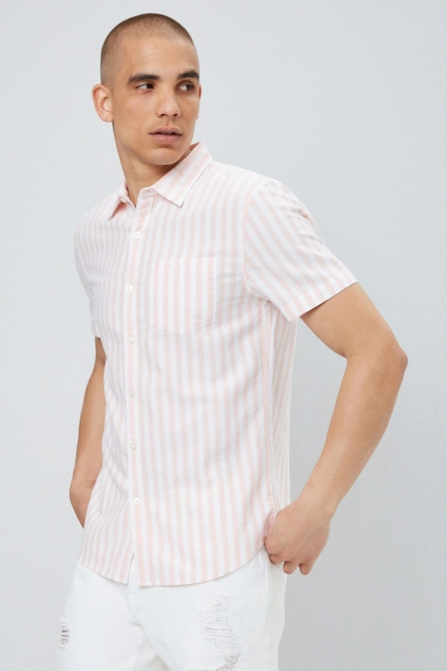 21 Men Pinstriped Fitted Oxford At Forever 21 , White/pink Shirt