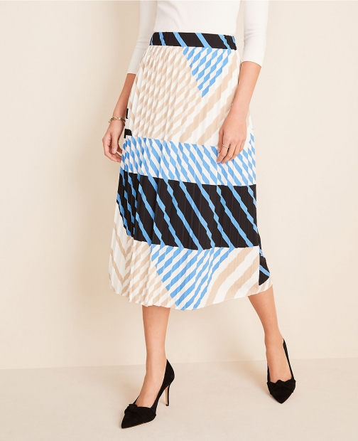 Ann Taylor Stripe Pleated Skirt