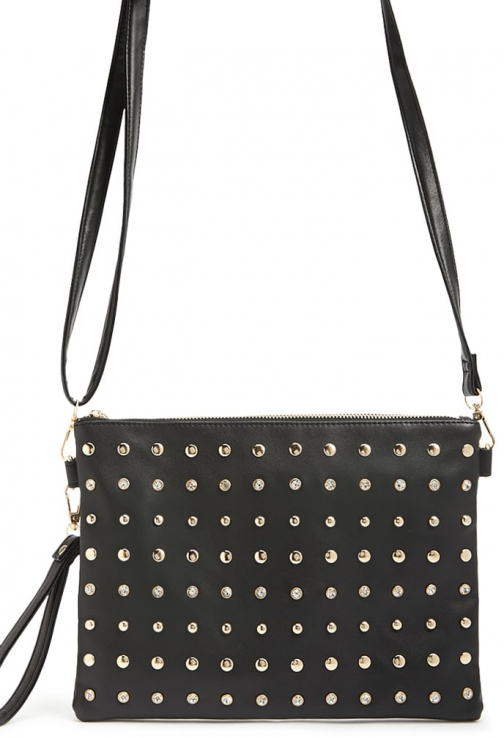 Forever21 Forever 21 Studded Faux Leather , Black Clutch