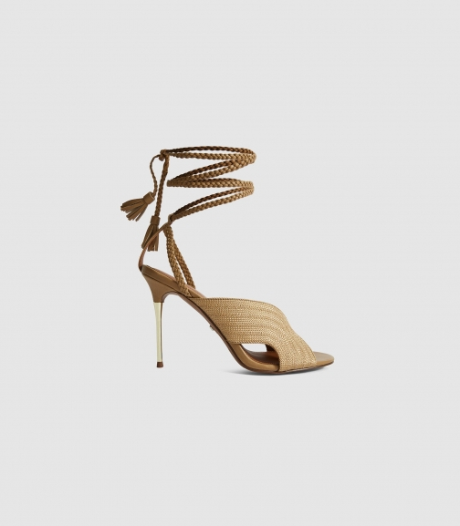 Reiss Minerva - Braided Ankle Strap Gold, Womens, Size 4 Sandals