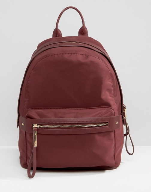 Pieces Nylon Minimal Structured Fig Backpack