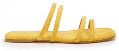 Forever21 Forever 21 Strappy Faux Suede Slides , Yellow Slider