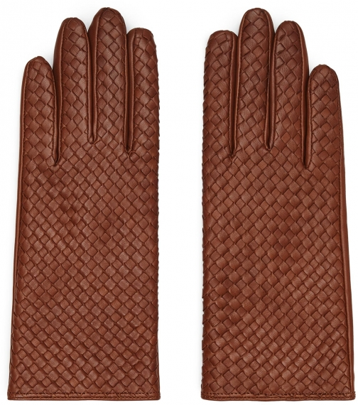 Reiss Milly - Leather Woven Tobacco, Womens, Size S Glove