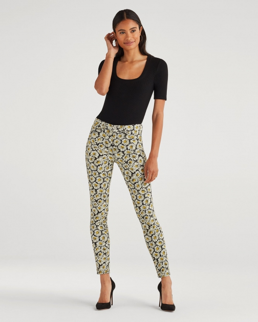 7 For All Mankind Women's Ankle Skinny Lazy Daisy Print Trouser