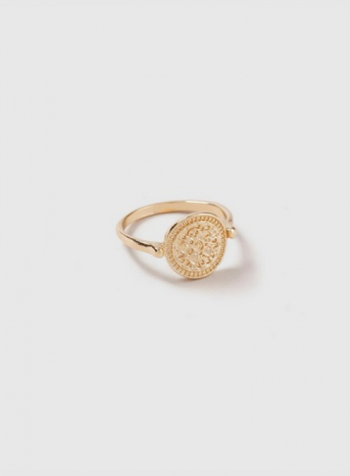 Dorothy Perkins Gold Textured Coin Ring
