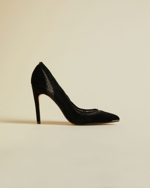 Ted Baker Leather Diamante Mesh Detail Stiletto Court