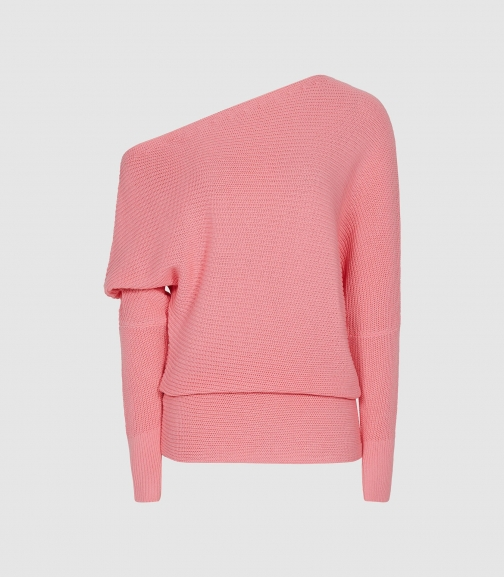 Reiss Ava - Draped Ribbed-knit Pink, Womens, Size S Jumper
