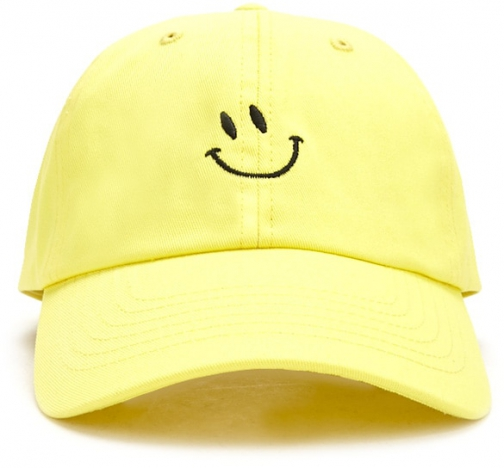 Forever21 Forever 21 Smiling Face Graphic Dad Yellow/black Cap