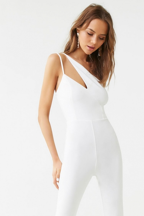 Forever21 Forever 21 One-Shoulder Cutout , White Jumpsuit