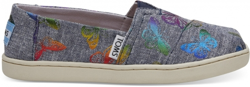 Toms Rainbow Foil Chambray Butterflies Print Youth Classics Slip-On Shoes