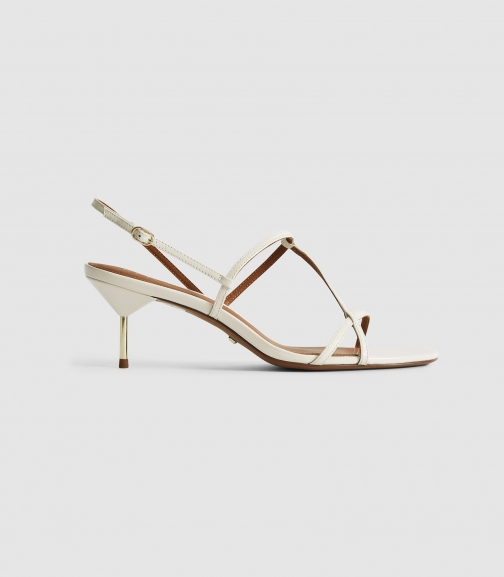 Reiss Ophelia - Leather Strappy Kitten Heels White, Womens, Size 3 Sandals