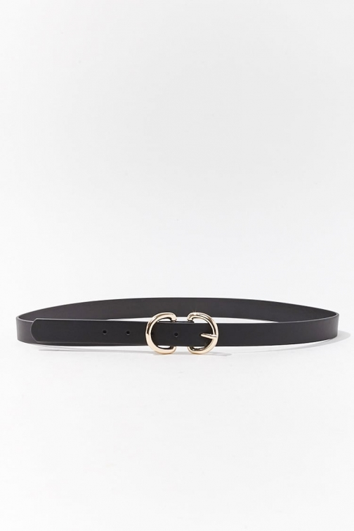 Forever21 Forever 21 Faux Leather Hip , Black/gold Belt