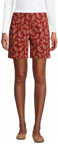 """Lands' End Women's Pull On 7"""" Chino - Lands' End - Red - 2 Short"""